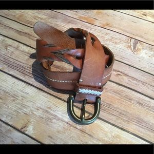 Genuine Leather Whipstitch Braded belt   Small